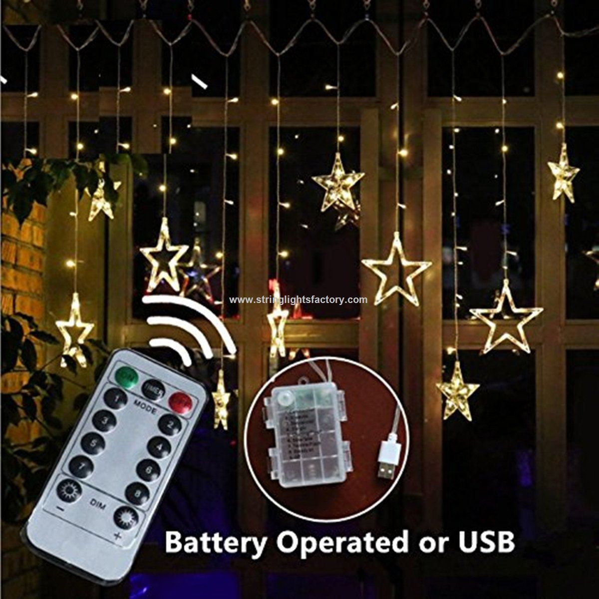 white color star fairy lights 138leds 2m curtain fairy lights remote control battery operated lights